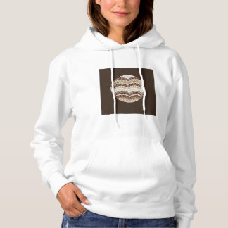 Round Beige Mosaic Women's Hooded Sweatshirt