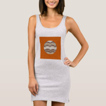 Round Beige Mosaic Women's Tank Dress