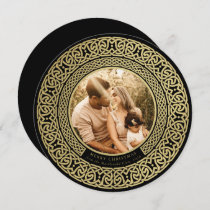 Round Black+Faux Gold Celtic Holiday Photo Card