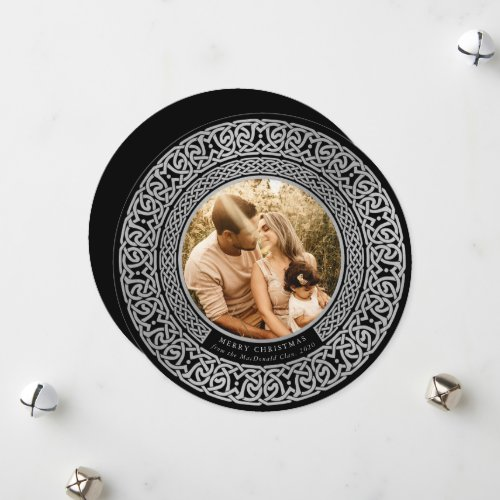 Round Black+Faux Silver Celtic Holiday Photo Card
