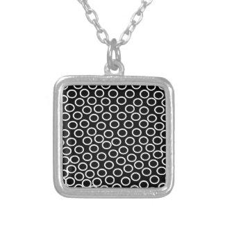 Round Black Image Square Pendant Necklace