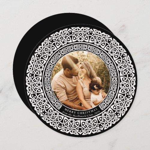 Round Black + Off White Celtic Holiday Photo Card
