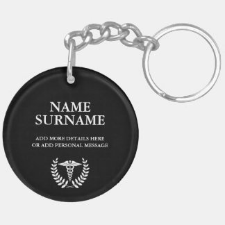 Round Black & White Medical Caduceus Personalized Keychain
