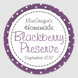 Round blackberry preserve or jam jar food label