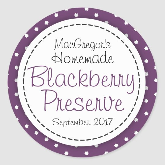 Round blackberry preserve or jam jar food label classic round sticker