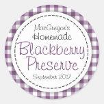 Round blackberry preserve or jam jar food label classic round sticker