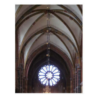 Round blue church window postcard