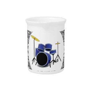 round blue drums beverage pitchers