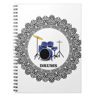 round blue drums spiral notebook