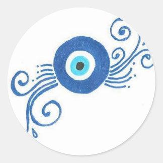round blue evil eye classic round sticker