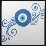 "round blue evil eye cloth napkin<br><div class=""desc"">he evil eye is a look that is believed by many cultures to be able to cause injury or bad luck for the person at whom it is directed for reasons of envy or dislike. The term also refers to the power attributed to certain persons of inflicting injury or bad...</div>"