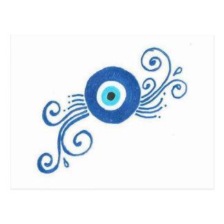 round blue evil eye postcard