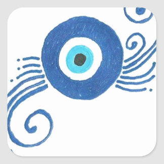 round blue evil eye square sticker