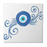 """round blue evil eye tile<br><div class=""""desc"""">he evil eye is a look that is believed by many cultures to be able to cause injury or bad luck for the person at whom it is directed for reasons of envy or dislike. The term also refers to the power attributed to certain persons of inflicting injury or bad...</div>"""