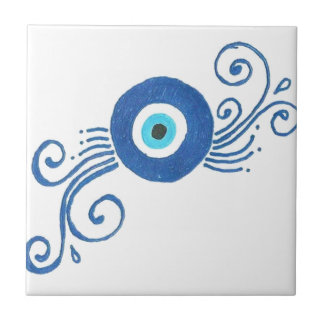 round blue evil eye tile