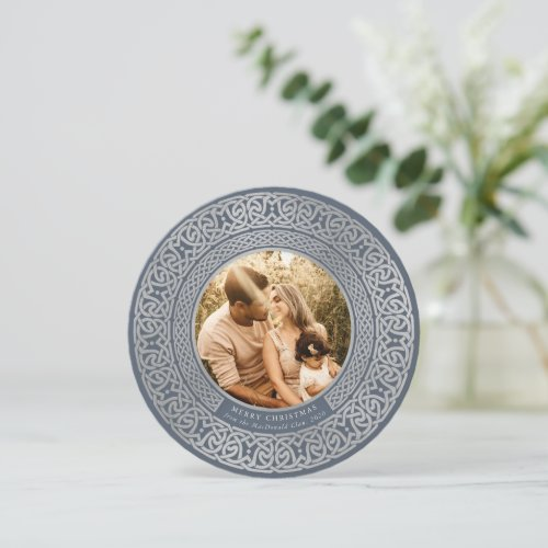 Round Blue+Faux Silver Celtic Holiday Photo Card