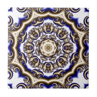Round blue fractal pattern ceramic tile