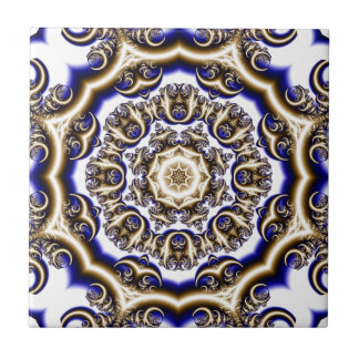 Round blue fractal pattern ceramic tiles