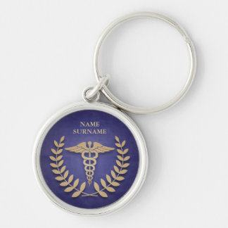 Round Blue & Gold Medical Caduceus Personalized Silver-Colored Round Keychain
