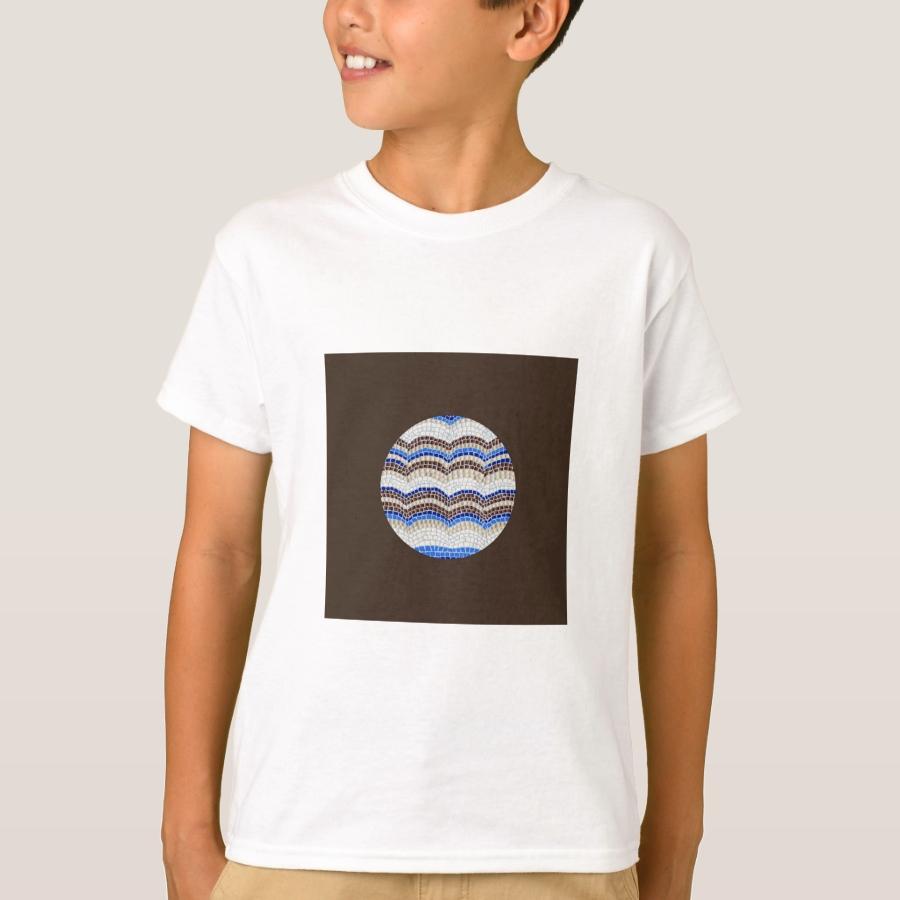 Round Blue Mosaic Kids' T-Shirt - Comfortable Kids' Long Sleeve T-Shirt Designs