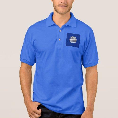 Round Blue Mosaic Mens Polo Shirt