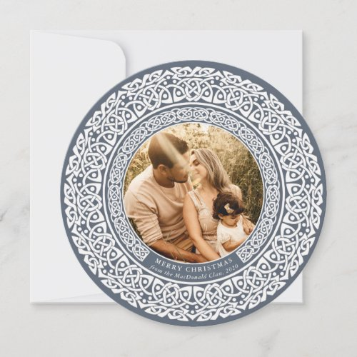Round Blue + Off White Celtic Holiday Photo Card