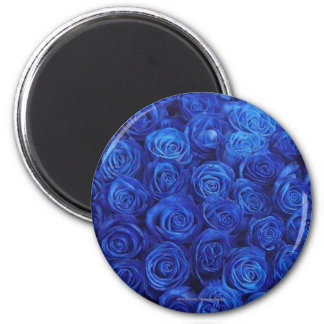 Round Blue Roses Refrigerator Magnet