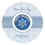 """Round Blue Snowflake Holiday Card 5.25"""" Square Invitation Card"""