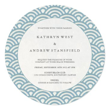 Beach Themed Round Blue   White Wave Pattern Wedding Invitation