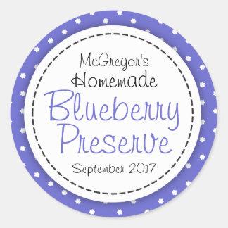 Round blueberry preserve or jam jar food label