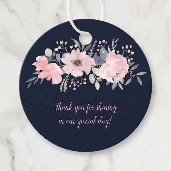 Round Blush Pink on Navy Wedding | Favor Tags