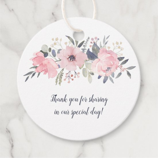 Round Blush Pink on White Wedding | Favor Tags