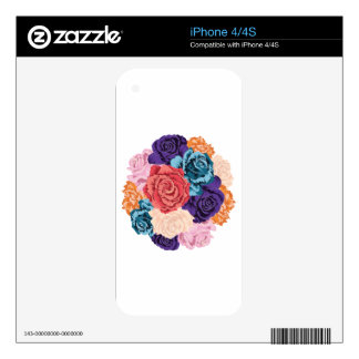Round Bunch of Roses2 Decals For iPhone 4S