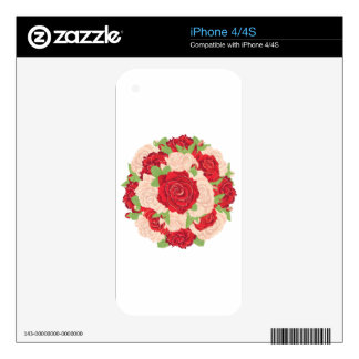 Round Bunch of Roses Decal For The iPhone 4S