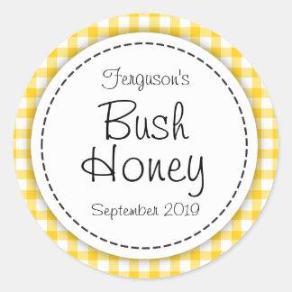 Round Bush honey yellow jam jar top food label Classic Round Sticker