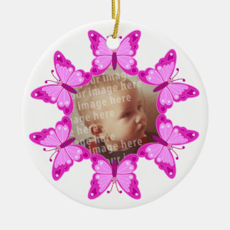 Round Butterfly Photo Frame Ceramic Ornament