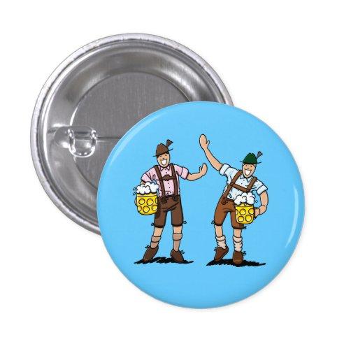 Round Button Oktoberfest Lederhosen Bavarians Beer