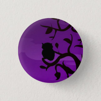 Round Button - Purple & Black Owl Silhouette
