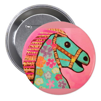 Round Button with Carousel Horse 3 Inch Round Button