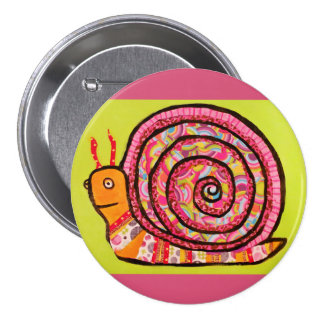 Round Button with Cute Snail