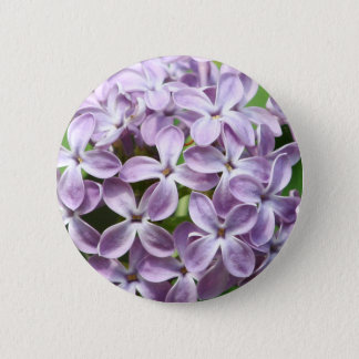 round button with photo of beautiful purple lilacs