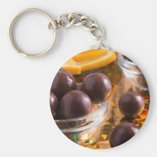 Round candy chocolate close-up keychain