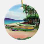 Round Canoe Beach Double-Sided Ceramic Round Christmas Ornament