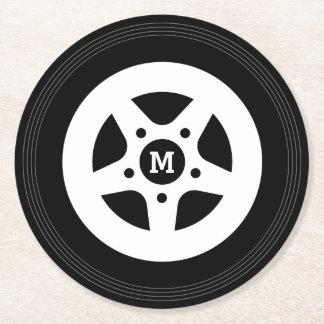 Round car wheel tire and rim novelty coaster set round paper coaster