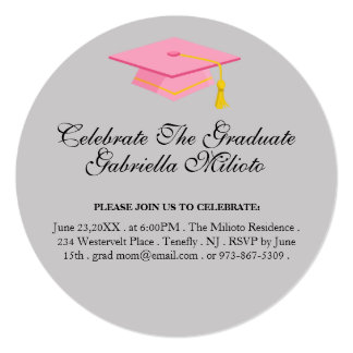 Round Celebrate The Graduate Pink Cap Invite