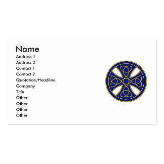 Round Celtic Cross in blue and gold Business Cards