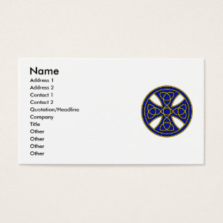 Round Celtic Cross in blue and gold Business Card