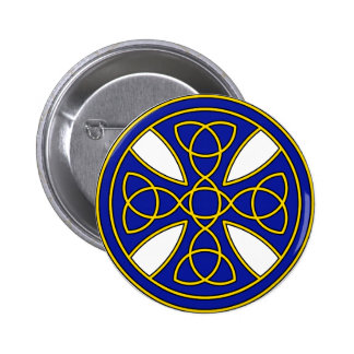 Round Celtic Cross in blue and gold Pinback Button