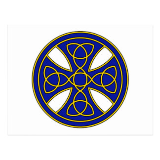 Round Celtic Cross in blue and gold Postcard