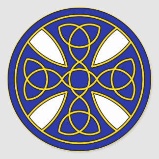 Round Celtic Cross in blue and gold Round Stickers